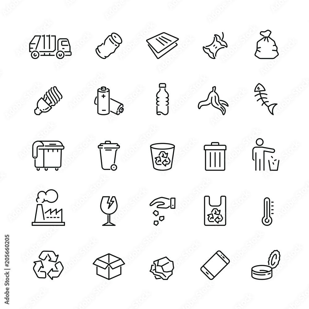 Fototapeta Garbage related icons: thin vector icon set, black and white kit