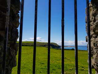view over windows on grassy field and coast of ocean in northern ireland