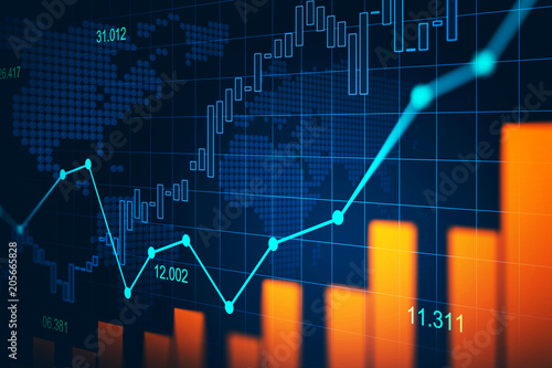 Fotografía  Stock market or forex trading graph in graphic concept