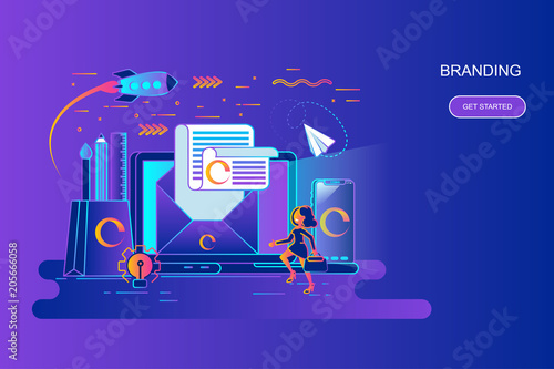 Photo  Modern gradient flat line concept web banner of branding with decorated small people character