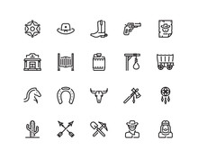 Wild West Icon Set, Outline St...