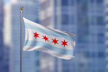 Chicago City Flag Blowing In T...