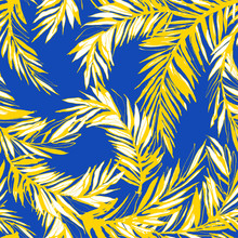 Vector Illustration Tropical Jungle Floral Seamless Pattern Background With Palm Beach Banana Monstera Leaves. Yellow And Blue. Grunge Style Design Textile Print, Poster, Wallpaper And Wrapping Paper