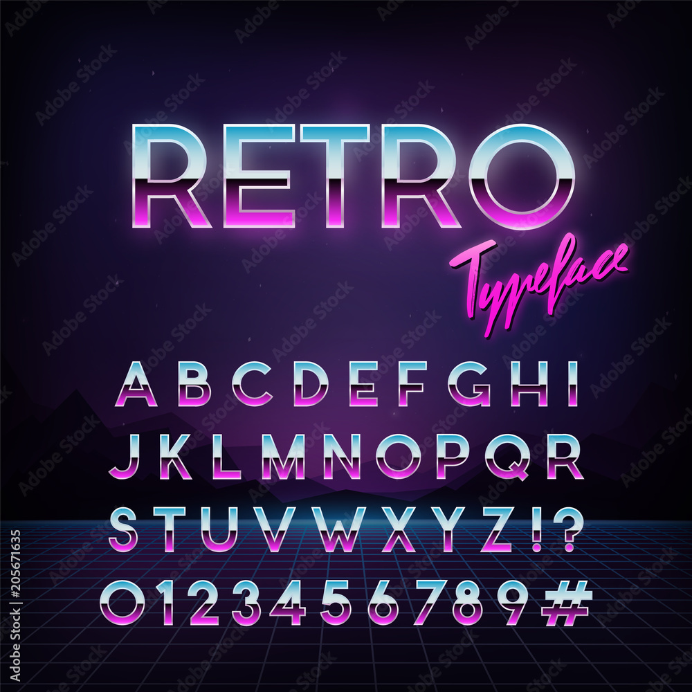 Fototapeta Futuristic retro typeface. 80s style . Vector alphabet.  Template for your design.