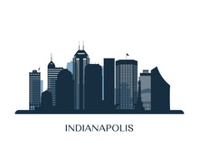 Indianapolis Skyline, Monochro...
