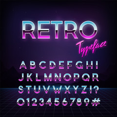 Futuristic retro typeface. 80s style . Vector alphabet.  Template for your design.