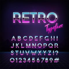 Futuristic retro typeface. 80s style . Vector alphabet.  Template for your design.