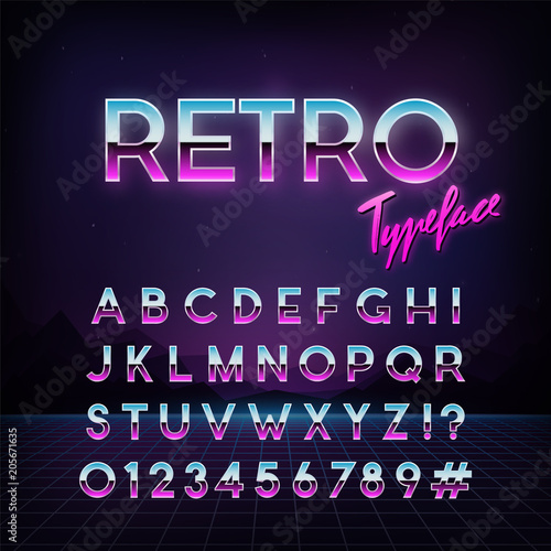 Fototapeta Futuristic retro typeface. 80s style . Vector alphabet.  Template for your design. obraz