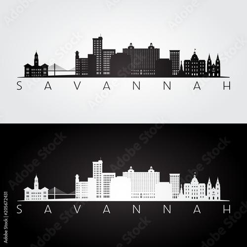 Savannah USA skyline and landmarks silhouette, black and white design, vector illustration. Wall mural