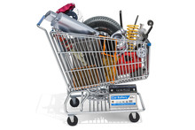 Shopping Cart With Car Parts, 3D Rendering
