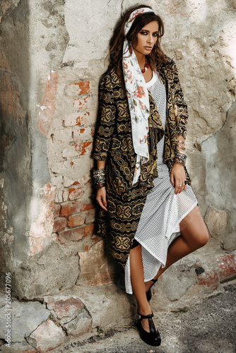 Poster Gypsy female boho style clothes