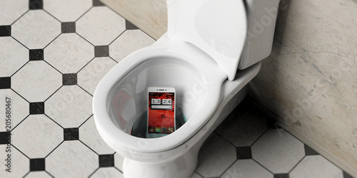 Mobile phone dropped in bathroom toilet bowl, 3d