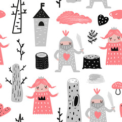 Hand Drawn Seamless Pattern with Princess and Knights. Creative Childish Background with Cute Hero Boys and Girls for Fabric, Textile, Wallpaper, Decoration, Prints. Vector illustration