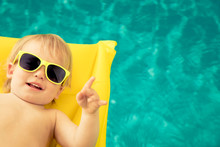 Funny Baby Boy In Swimming Pool
