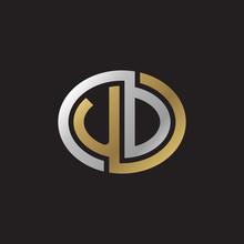 Initial Letter UD, Looping Line, Ellipse Shape Logo, Silver Gold Color On Black Background