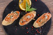 Pancake Roll With Salmon