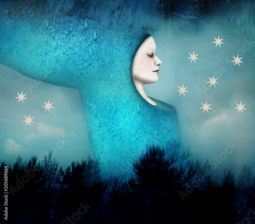 Montage in der Fensternische Surrealismus Beautiful artistic image of a woman sleeping in a surreal night landscape