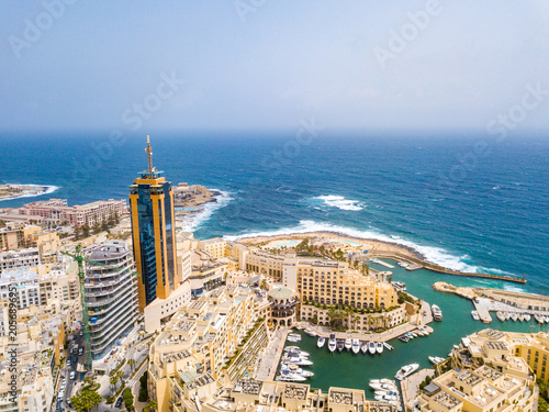 Staande foto Luchtfoto Beautiful aerial view of the Spinola Bay, St. Julians and Sliema town on Malta.
