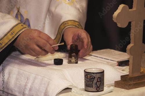 Valokuva  Orthodox Christening oil