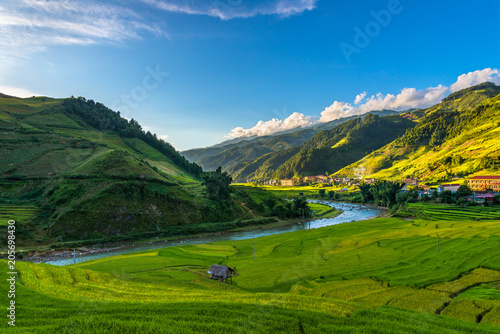 Fotografie, Obraz  Beautiful mountain with rice terraced view point at Mu Cang Chai district, Yen B
