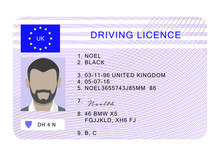 Uk Driver License Id Card. Cartoon Of Uk Driver License Id Vector Card For Web Design Isolated On White Background