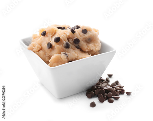 Fotobehang Koekjes Cookie dough with chocolate chips in bowl on white background