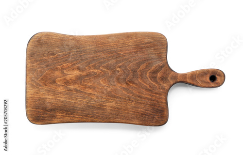 Wooden board on white background, top view. Kitchen accessory