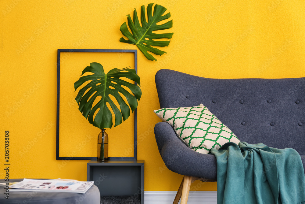 Fototapety, obrazy: Elegant living room interior with comfortable sofa. Home design in rainbow colors