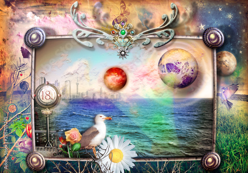 Poster Imagination Fantastic and fairytale landscape with sea and countryside