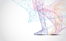 Close Up Of Runner S Legs Run Form Lines And Triangles, Point Connecting Network On Blue Background. Illustration Vector