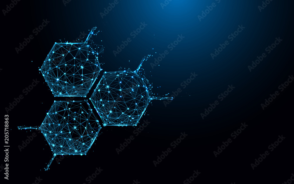 Fototapeta Molecule structure icon form lines and triangles, point connecting network on blue background. Illustration vector