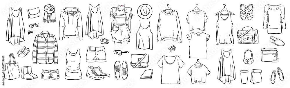 Fototapety, obrazy: Fashion stylish, Graphic drawing sketch with woman, Vector set, Doodle design