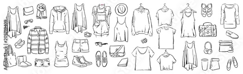 Fashion stylish, Graphic drawing sketch with woman, Vector set, Doodle design