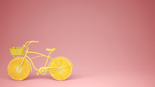 Yellow Bike With Sliced Orange Wheels, Healthy Lifestyle Concept With Pink Pastel Background Copy Space