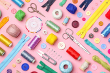Composition With Threads And Sewing Accessories On Color Background, Flat Lay