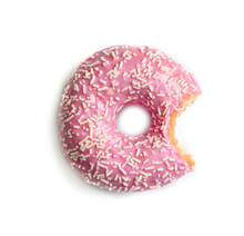 Delicious Bitten Doughnut With Sprinkles On Light Background