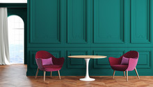 Empty Room Modern Classic Interior With Green Walls, Red, Burgundy Armchairs, Table, Curtain And Window.