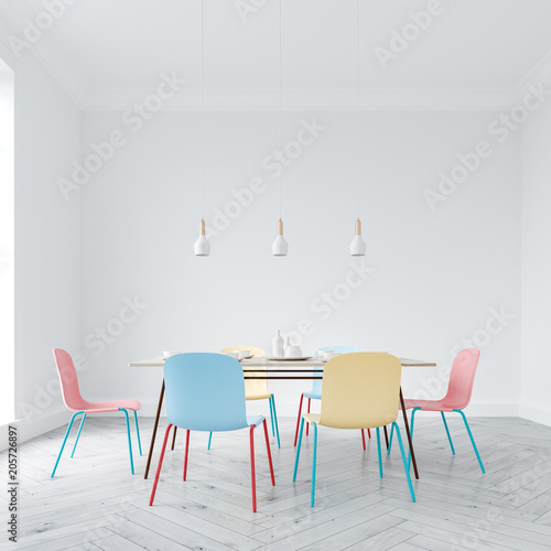 Fotobehang Stof Bright chairs dining room interior