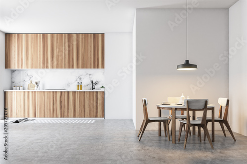 Fotomural  Wooden and gray dining room and kitchen