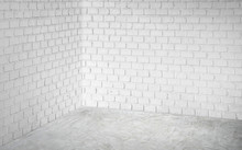 Empty Corner White Modern Brick Wall And Grey Concrete Floor Perspective Room,Modern Style Room,Mock Up For Display Of Product,business Presentation
