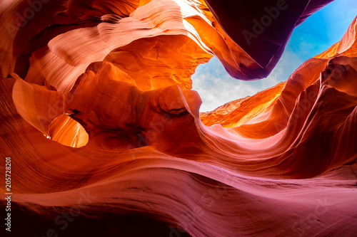 Stickers pour porte Orange eclat Lower Antelope Canyon