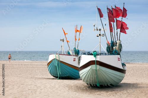 Obraz na plátně Fischerboote am Strand, Jütland, Dänemark