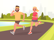 Happy Couple Running Around In The Park. Man And Woman Is Engaged In Fitness