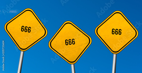 666 - yellow sign with blue sky плакат