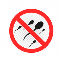 No Sex Sperm Sign Symbol Icon On White Transparent Background. Forbidden Orgasm Ejaculate Round Red Sticker