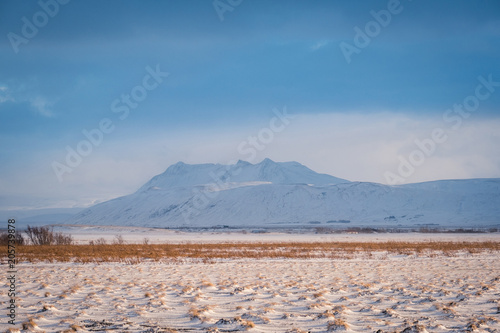 Foto op Canvas Bleke violet Dramatic icelandic landscape with snow covered mountains. Cold winter day in Iceland.