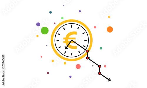 Clock Hand Line Graph Going Down Falling Decreasing
