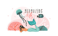 Hand Drawn Vector Abstract Cartoon Graphic Underwater Illustrations Poster With Coral Reefs,fish,seaweed And Beauty Mermaid Girl Character With Mermazing Life Typography Isolated On White Background