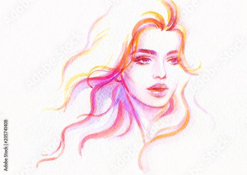 Poster Portrait Aquarelle beautiful woman. fashion illustration. watercolor painting