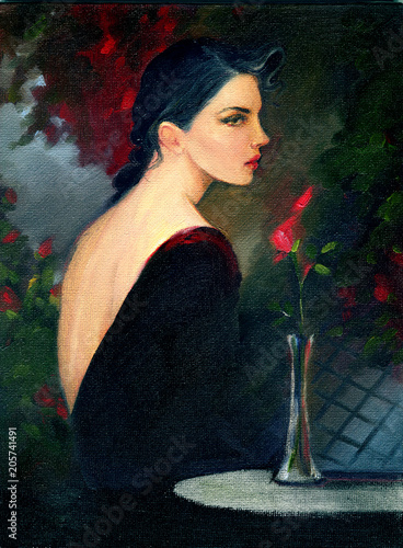 Poster Portrait Aquarelle beautiful woman in garden. fashion illustration. oil painting